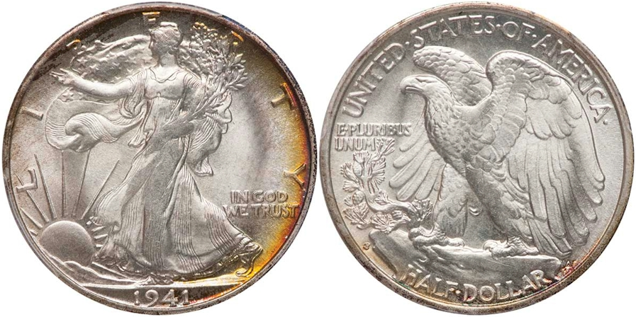 1941 S Walking Liberty Half Dollar PCGS MS66+